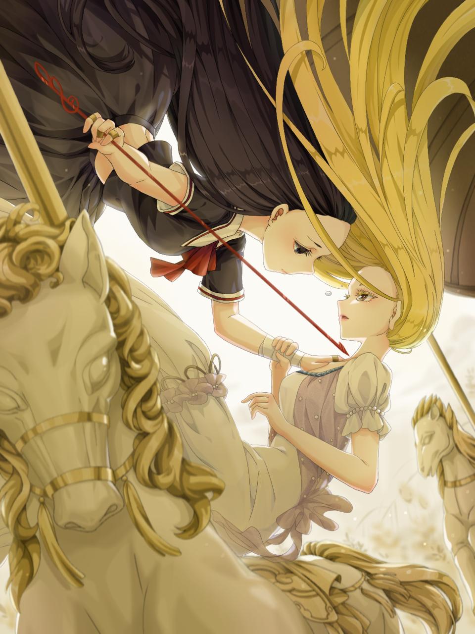 【双白】旋转木马之境 Illust of 玄彩白墨 贺图 illustration 自设 oc 六一快乐