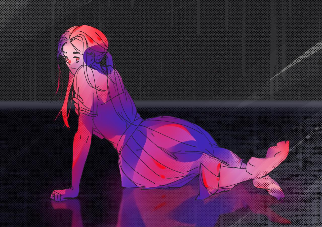 练习 Illust of 谭日青 medibangpaint coloredpencil practice girl lazy