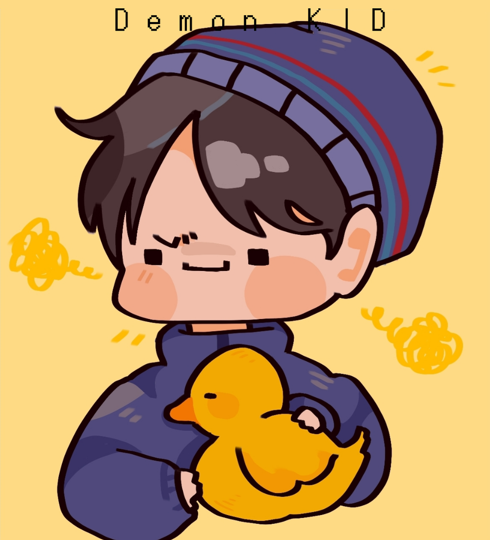 BIG Q IS HERE🤩 Illust of Demon KID medibangpaint Minecraft duck boy cute Quackity yellow