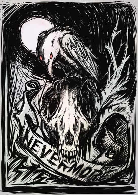 Nevermore Illust of KapCat 烏鴉 黑白 黑暗 骨