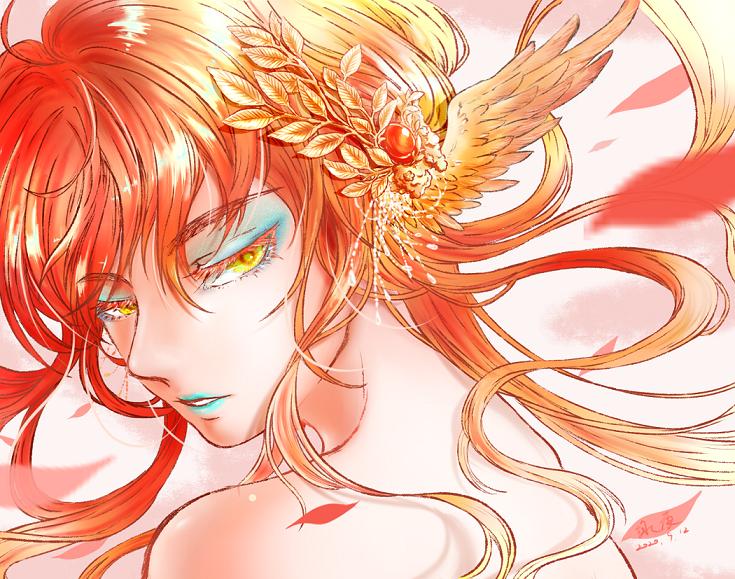 無題 Illust of 詠夜 無題 illustration 紅髮 original 花瓣