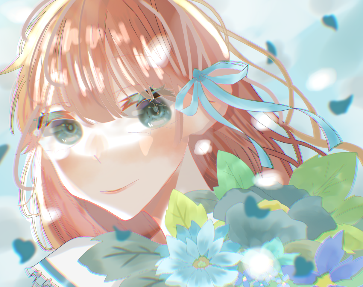『私と花とそれから。』 Illust of はんぺん April2021_Flower original angel flower cute girl ribbon digital
