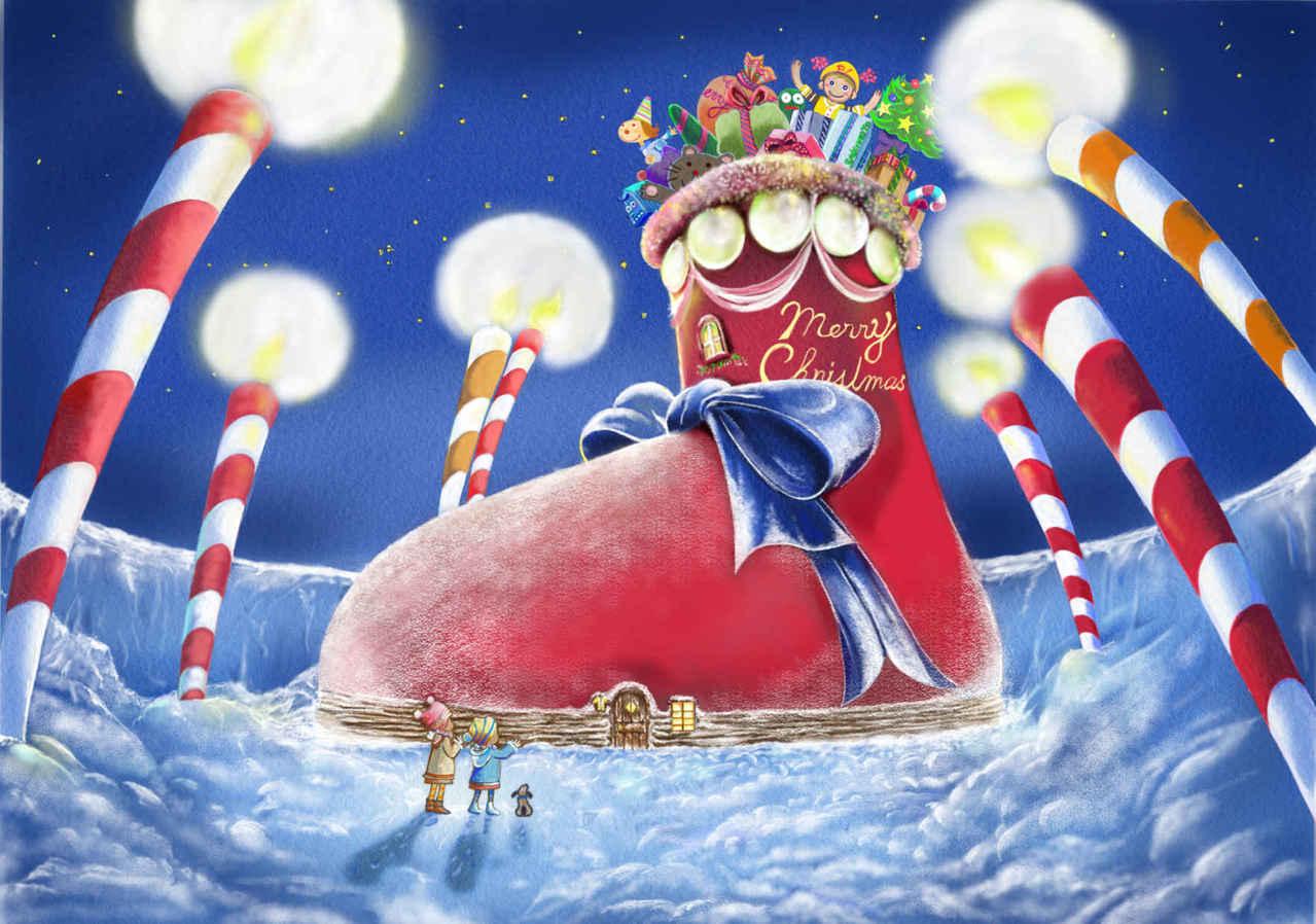 雪の朝 メリークリスマス サンタのブーツ Illust of beach st starry_sky プレゼント candle サンタクロース 姉妹 ブーツ キャンドル Christmas snow