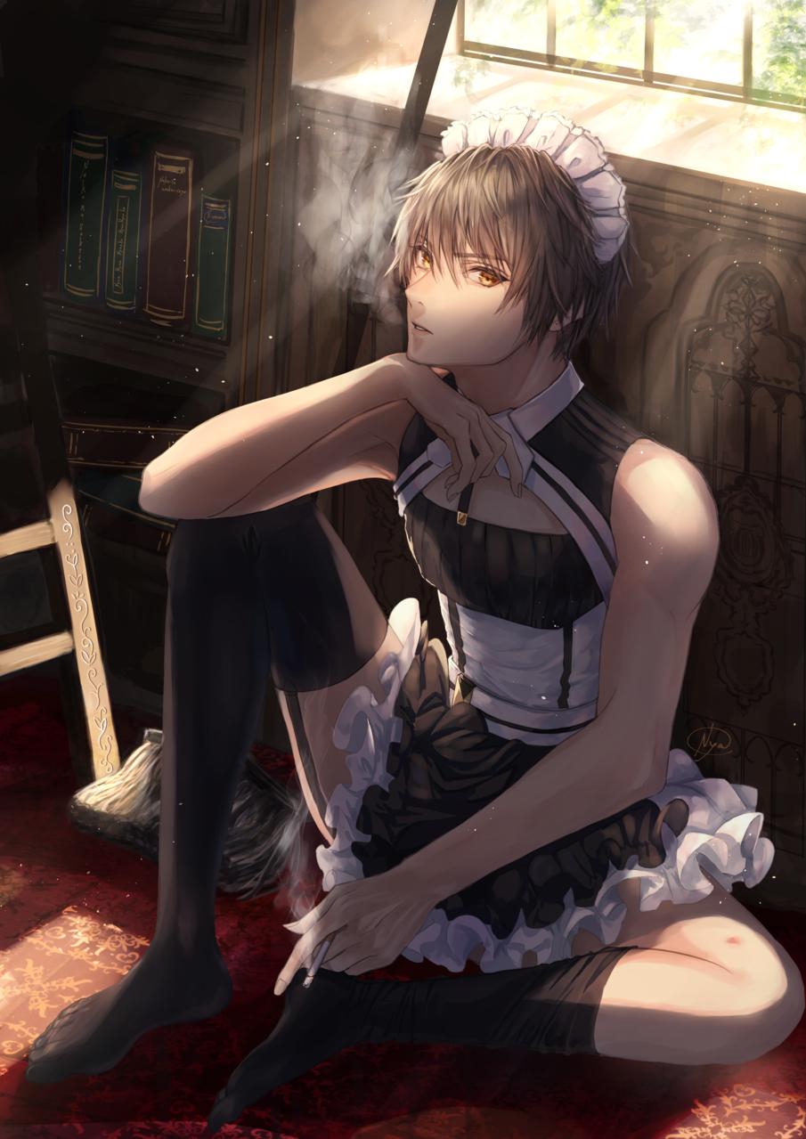 一息 Illust of 稔也 boy maid メイド服 tobacco