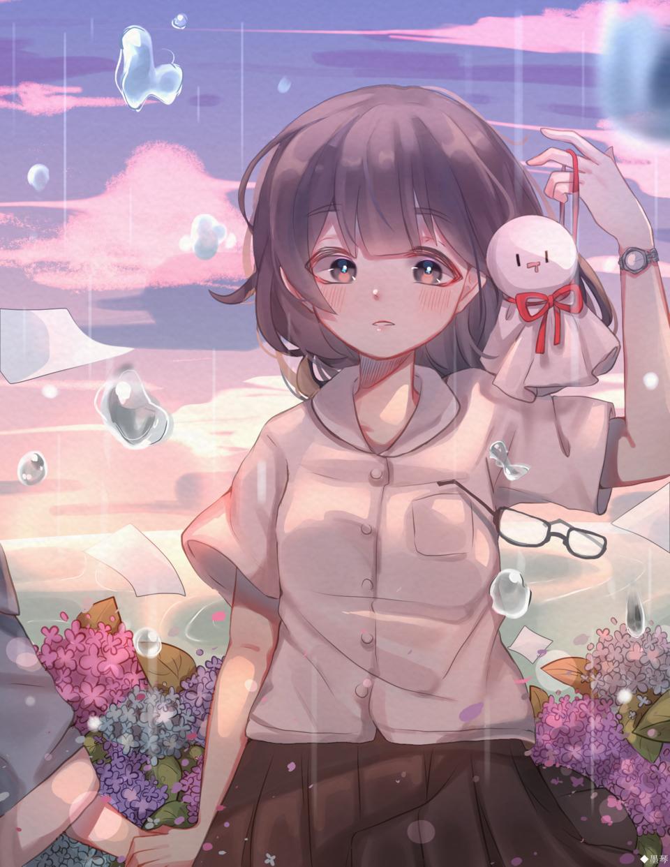 雨 Illust of もち 墨琴 kyoto-illust2019 Jul.2019Contest medibangpaint rain girl hydrangea てるてる坊主