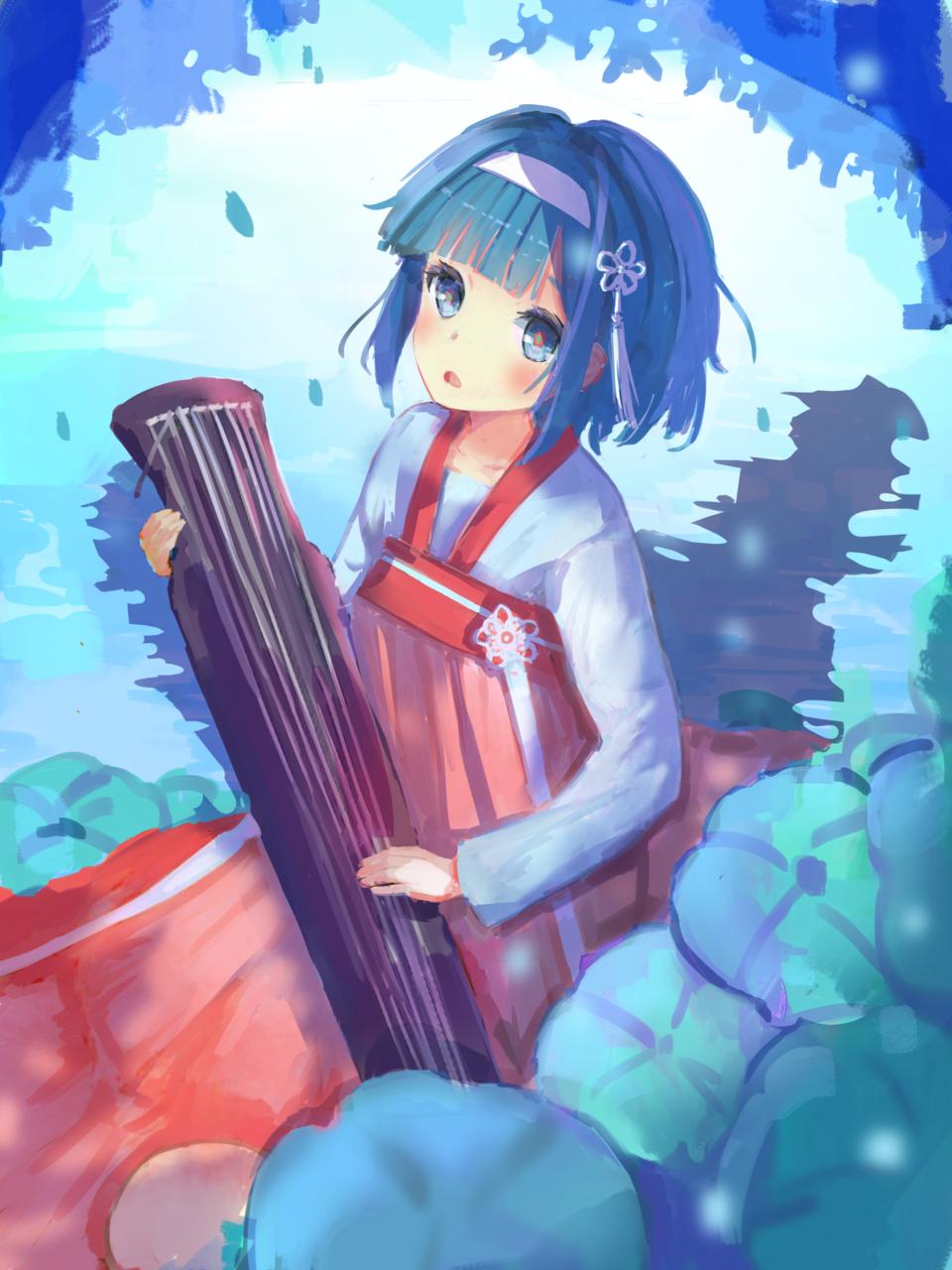 蓮 Illust of 千弦 January2021_Contest:OC cute girl 中国風 oc original 青い animegirl