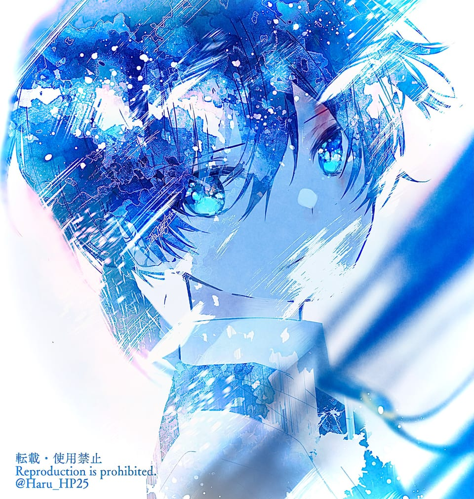 青い記憶 Illust of 遥川遊 original blue オリジナル創作 boy watercolor oc
