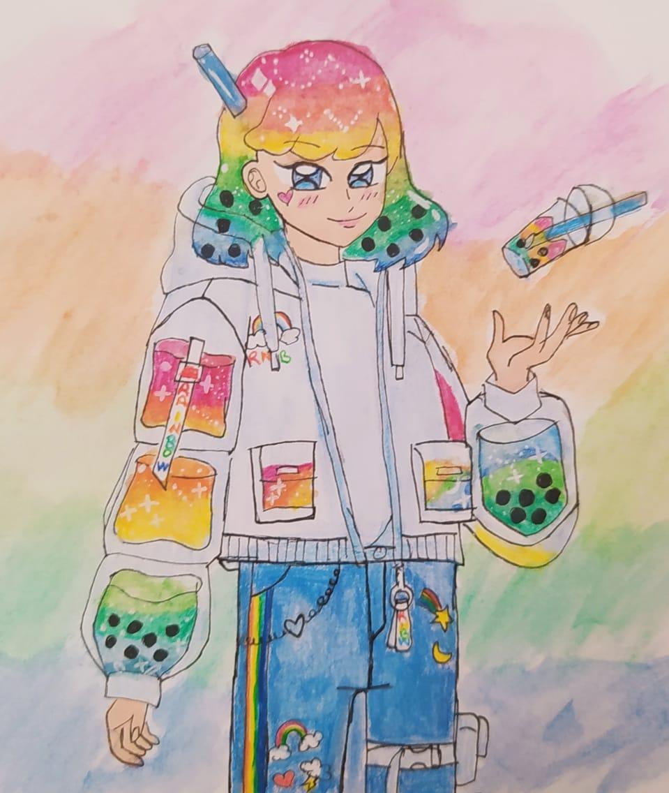 Instagram my drawing for fresh boba tea dtiys😊  Illust of Kawaii anime 90 digital drawing dtiys digitalpainting sketch Drawings