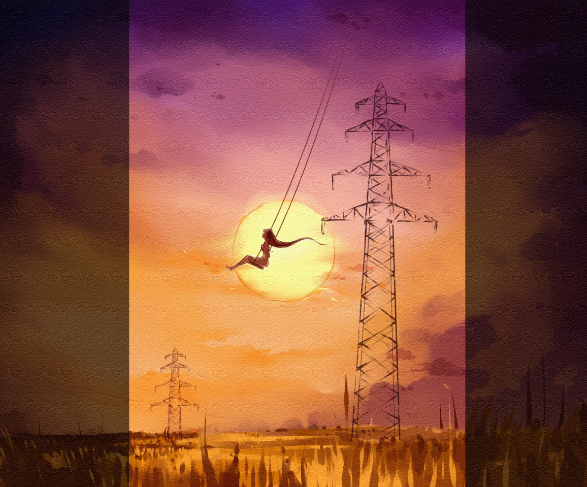 WHO KEEPS THE SUNSET Illust of Thao Nguyen - Violet September2021_Girl April.2020Contest:Color Shadow color Lonely fly