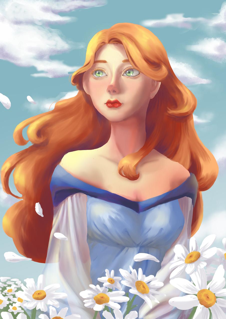 Walk on Daisies Illust of Pretty Princess 26 arttrade queen