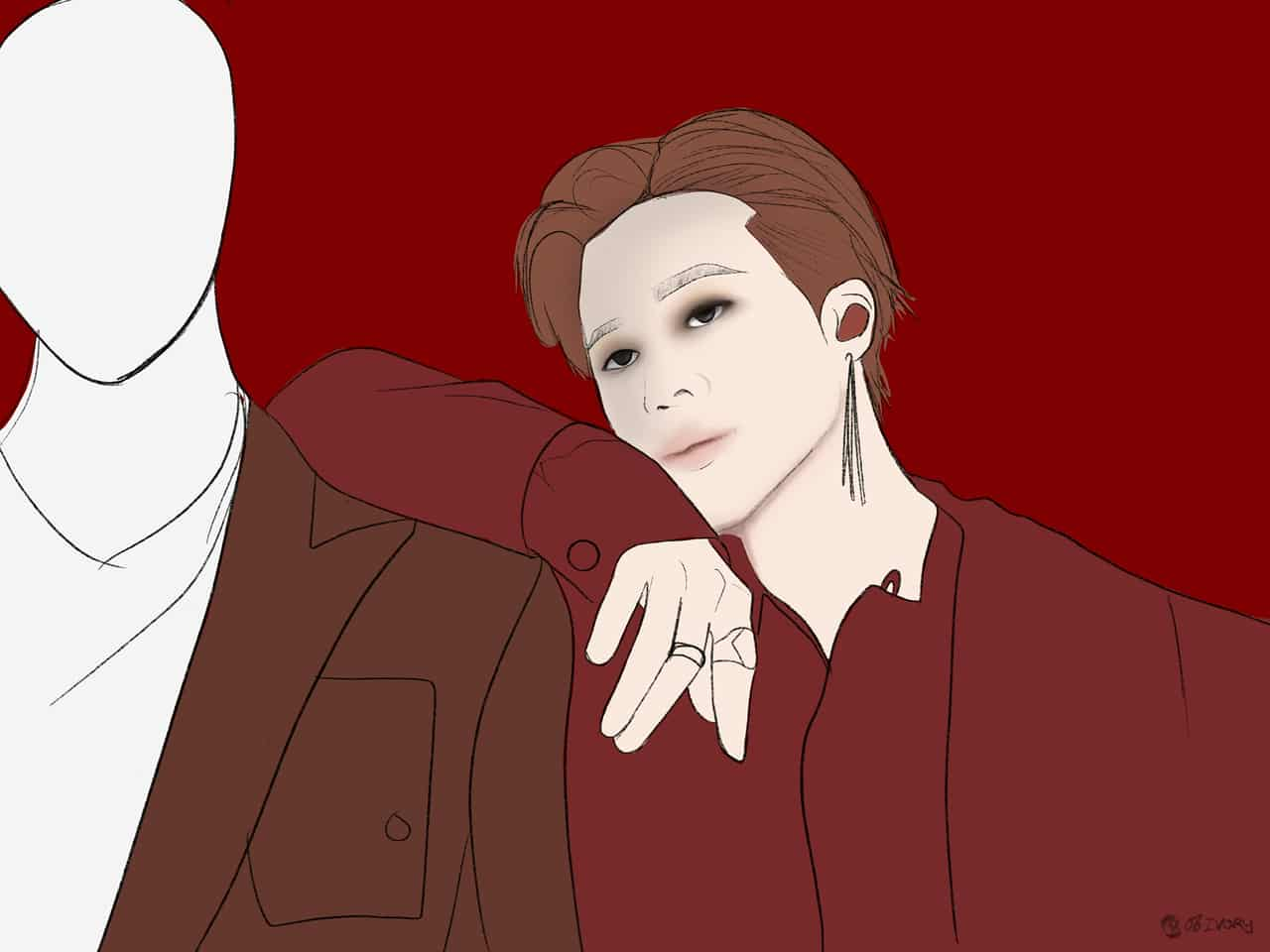 BTS ON:E Illust of Ivory Post_Multiple_Images_Contest piercing Jin Taehyung fanart Jimin SUGA Jk RM medibangpaint Jhope BTS