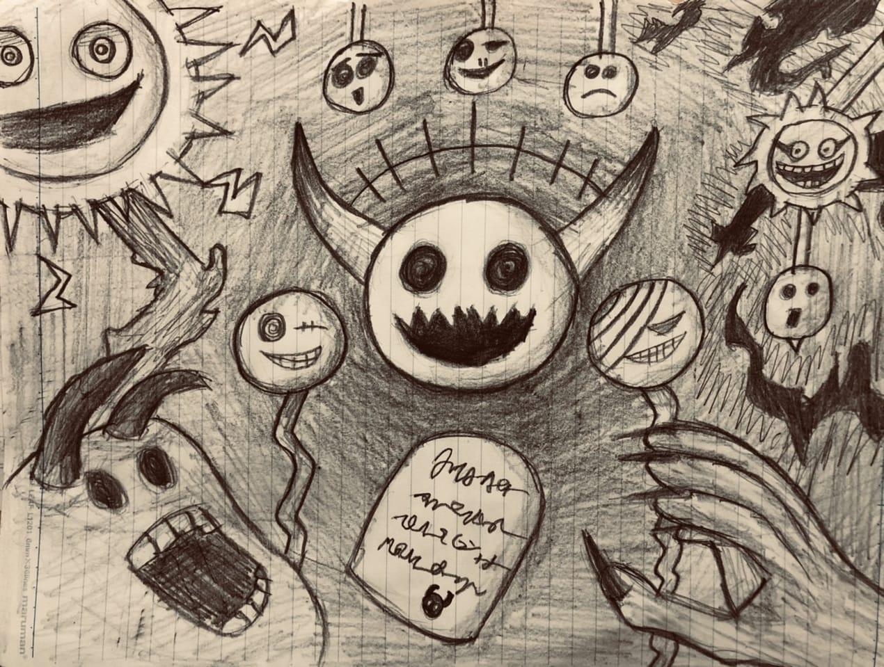 落書きたち Illust of けんせい#アナログ同盟 doodle アナログ てきとうならくがき original illustration AnalogDrawing ホラー風