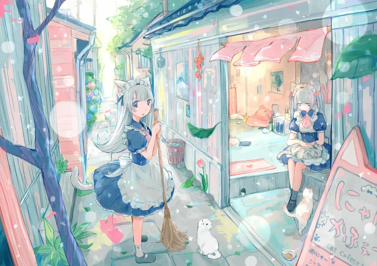 にゃんこかふぇ Illust of YUtuKI cat_ears maid original cat scenery