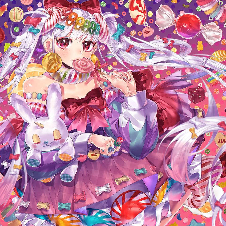 キャンディ·フェアリー Illust of 当間羽海 June2021_Anthropomorphism May2021_Monochrome character girl sweets original rabbit 초콜릿