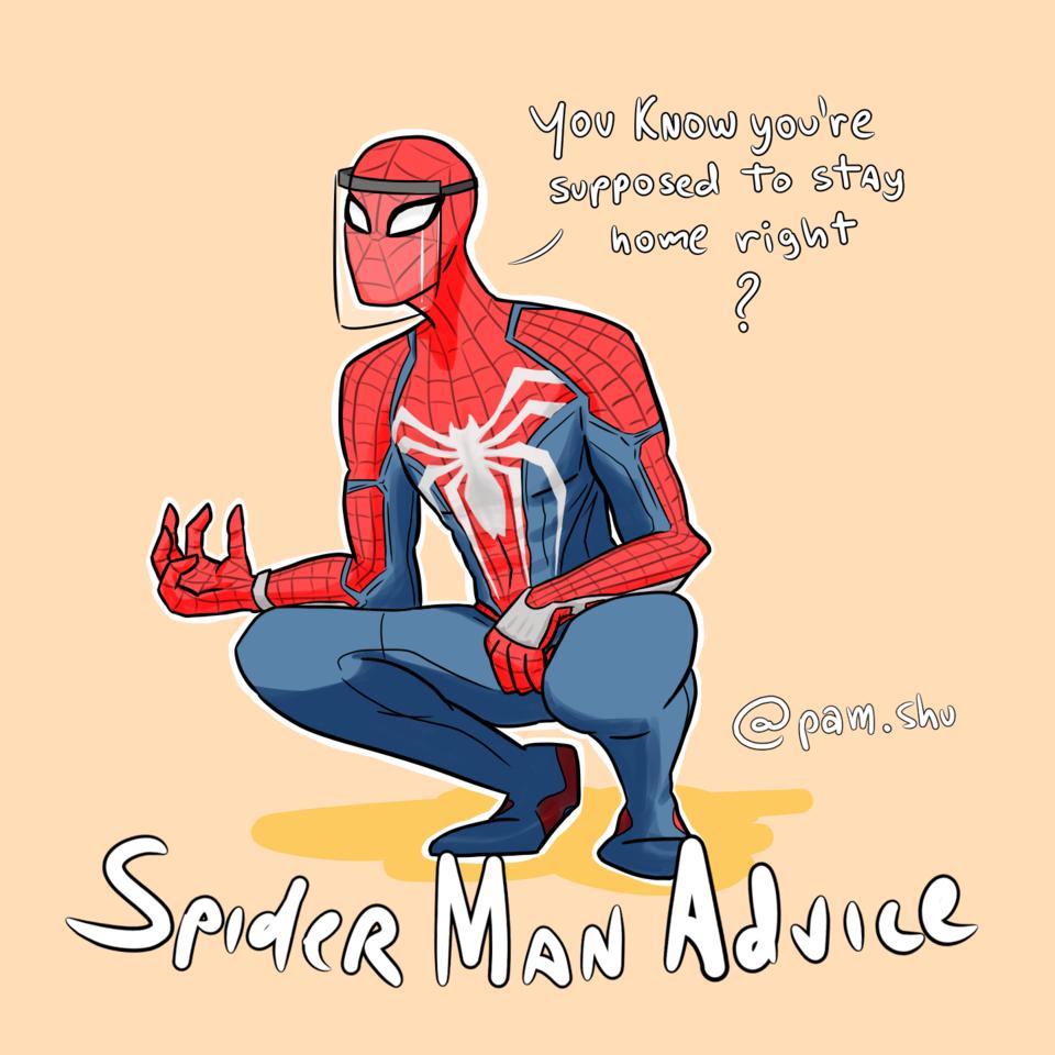Spider man advice Illust of Pam.Shu Coronavirus Spider-Man socialdistancing COVID-19 Homemaranha stayhomestaysafe stayathome