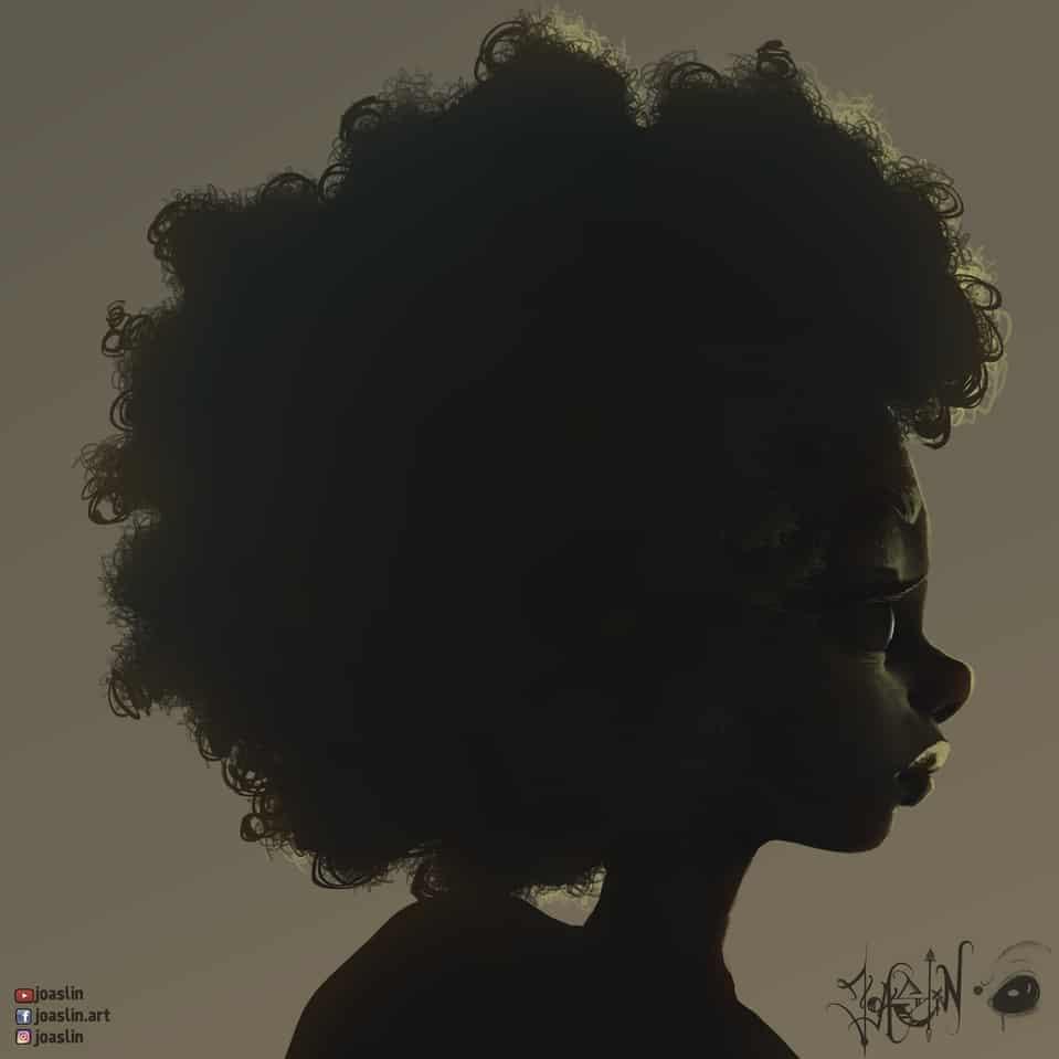 Low light 🌒 Illust of JoAsLiN eyes art curly girl digital anime afro illustration hair oc cute