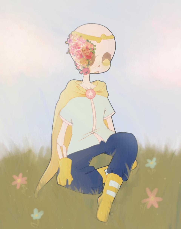 ▪︎🌺Dream!Sans🌺▪︎ Illust of ✧・゚:* Fresh *:・゚✧ UndertaleAU undertale aesthetic??? SansAU Dreamtale smol HanahakiAU? Dream!Sans