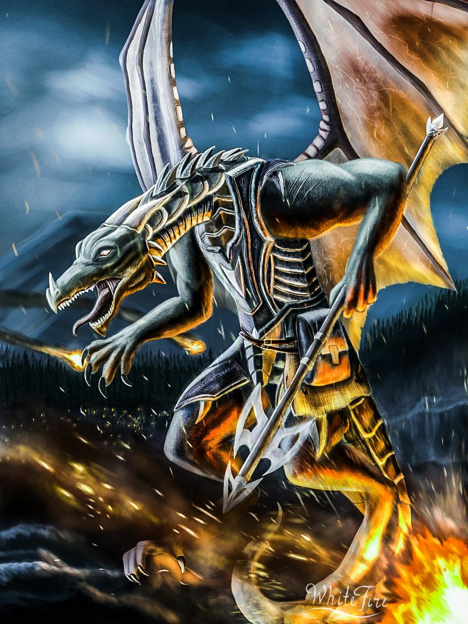 Dragon warrior oc Illust of ℤ𝕖𝕟𝕜𝕒𝕥𝕒𝕣 fantasy battle medibangpaint dragon epic fire knight realistic oc warrior