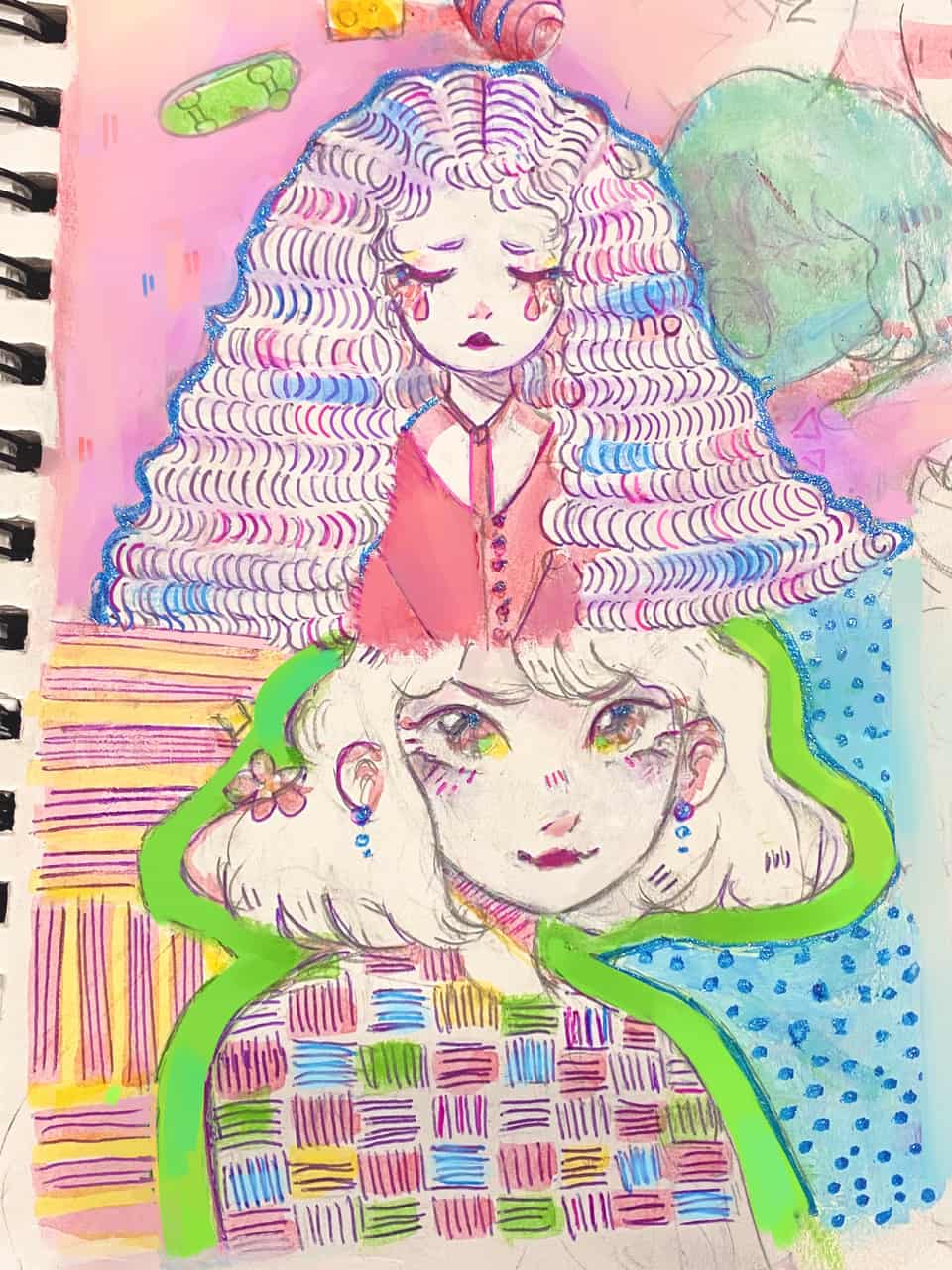 traditional art?!? illegal 🌝 Illust of h o ɳ e y d e w ☻︎ pink traditional