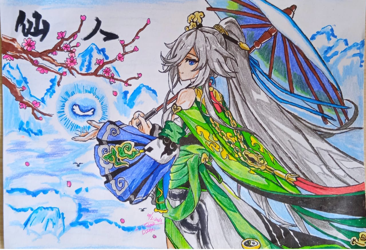 FU HUA FROM HONKAI IMPACT 3RD Illust of DianW18 sketch AnalogDrawing fanart spring manga art drawing honkaiimpact3 pencil anime