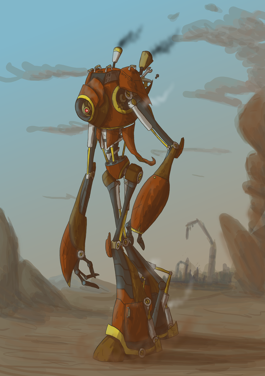 Treapur Illust of Yujin0623 robot steampunk postapocalyptic oc 로봇