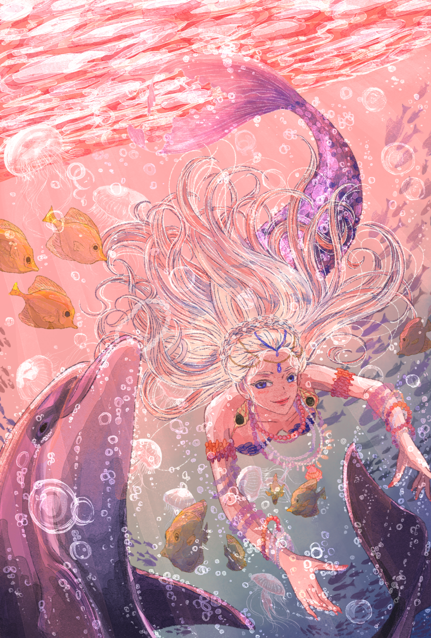 海の彩 Illust of 朱鈴 fantasy ARTstreet_Ranking April.2020Contest:Color girl イルカ sea underwater 泡 fish mermaid