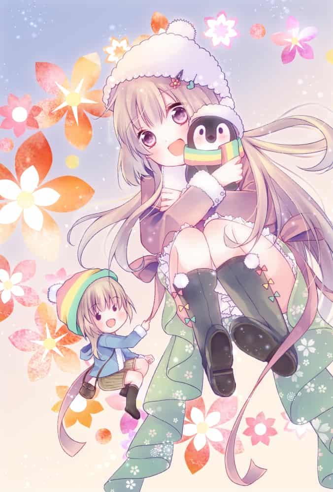 2020! Illust of シユン。 うちの子 双子 cutegirl oc original 年賀状 Penguin kawaii chibi
