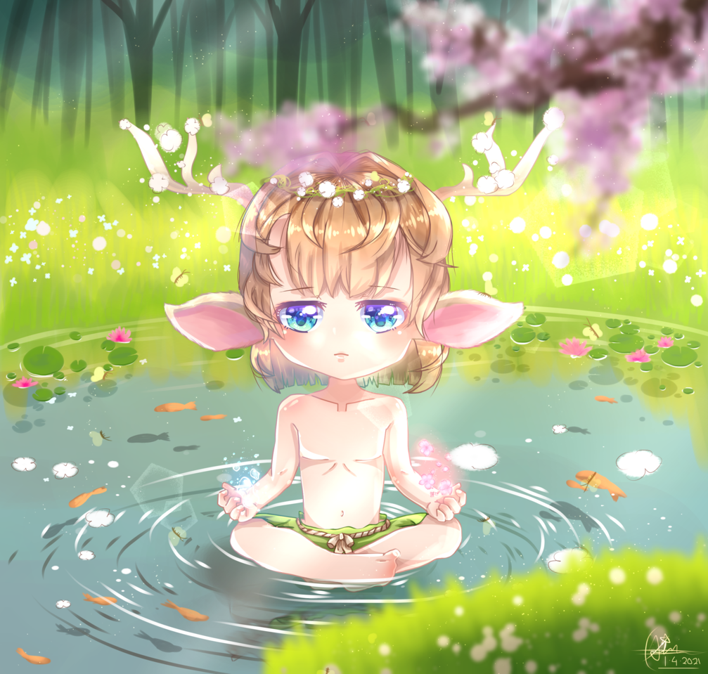 Little Dryad Illust of Qiya Art April2021_Flower original forest pond flower cute sakura spring medibangpaint