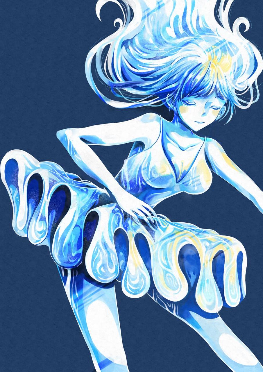 永遠の瞬間 Illust of Mizuna May2021_Monochrome illustration girl 踊る ice blue oc