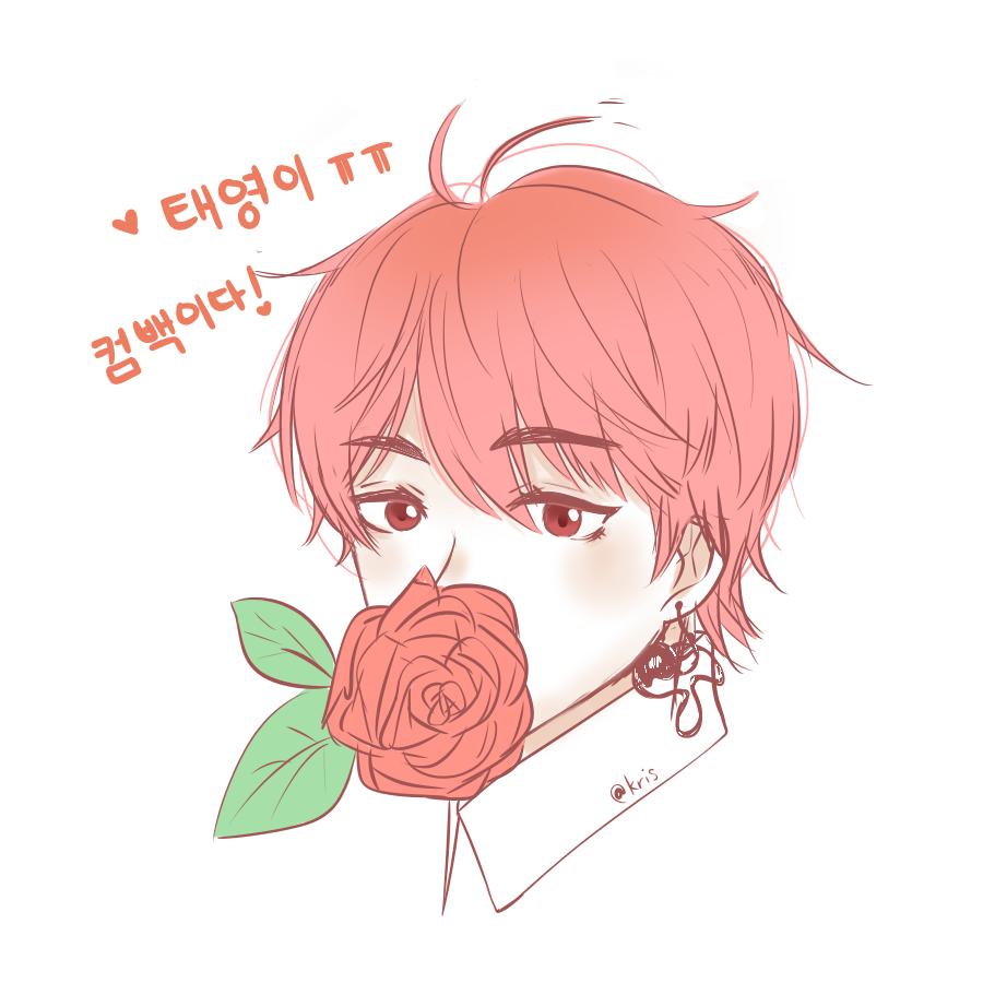 🌹  Illust of krisppie medibangpaint boy rose V flower Taehyung BTS