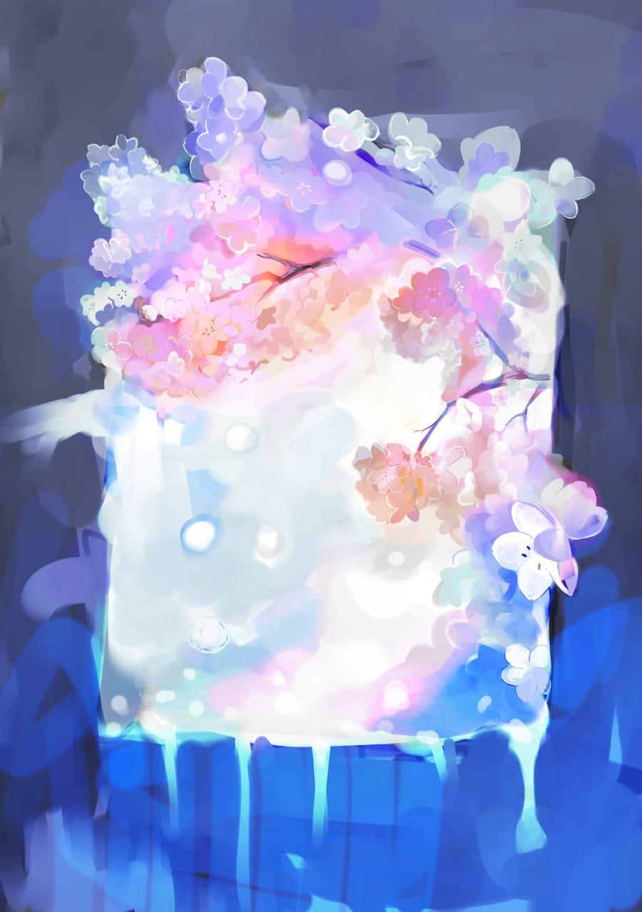 The spring in my window Illust of Lear April2021_Flower pink blue flower art sakura window snow