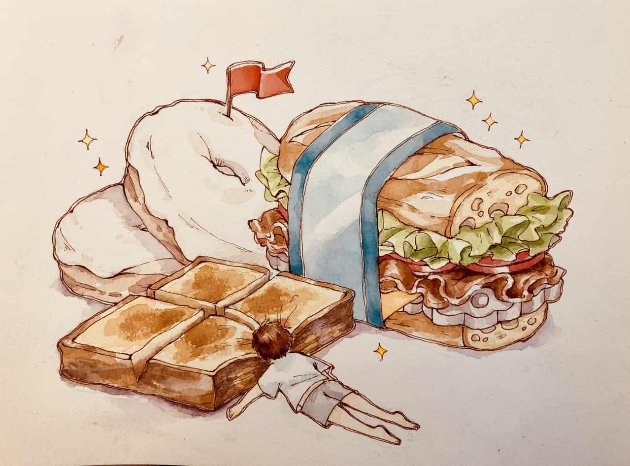 寝る Illust of 小雞撈月 たべもの watercolor food
