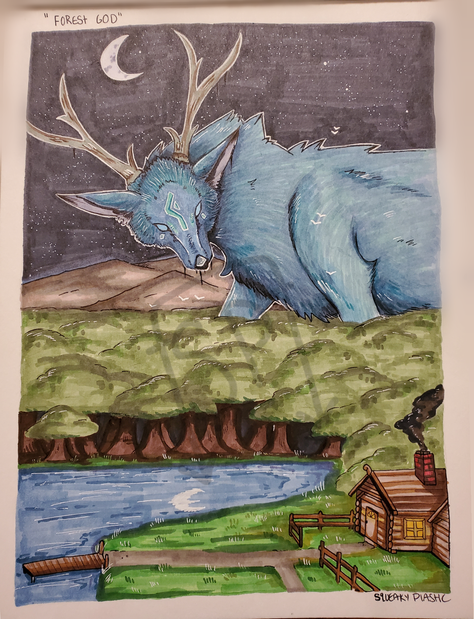 Forest God [traditional] Illust of Squeaky Plastic medibangpaint Copic god spirit traditional moon deer star