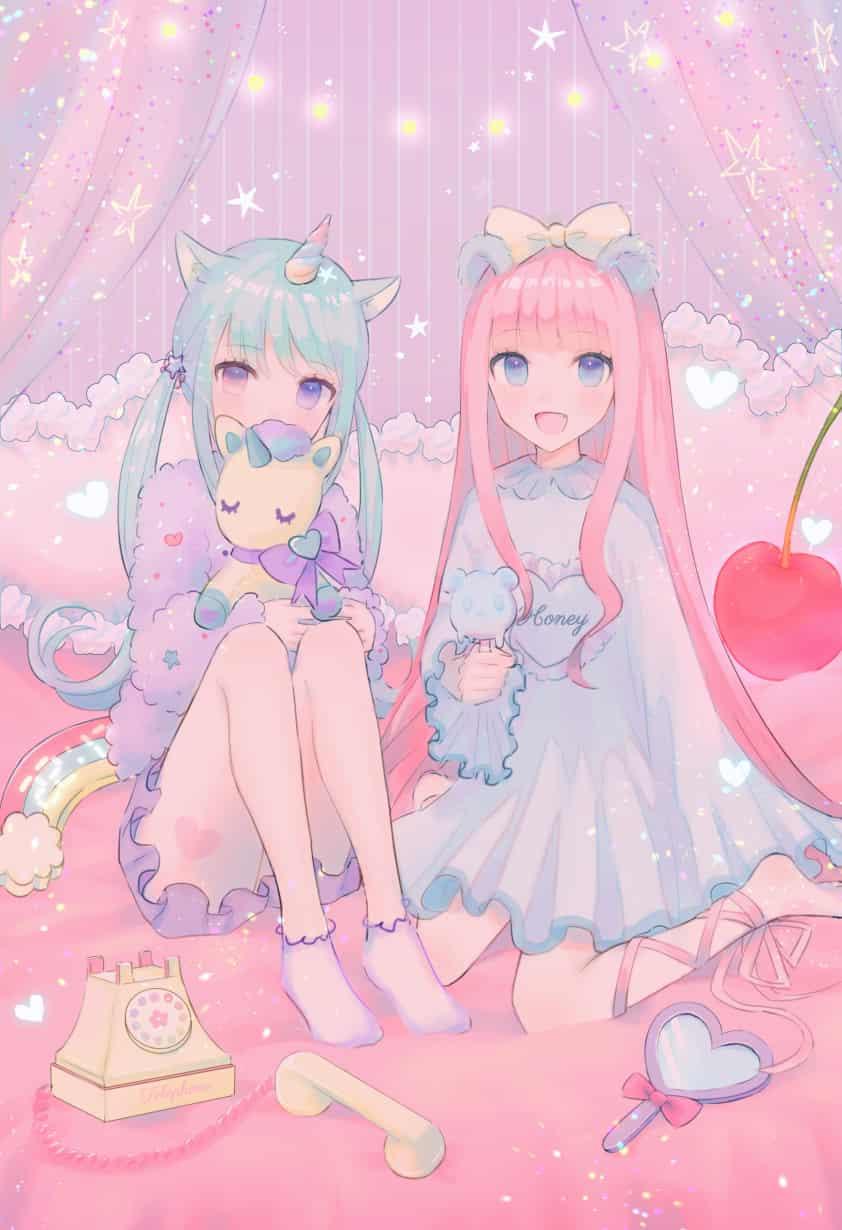 ゆめかわなふたり Illust of もふ original girl karina oc pink ゆめかわいい