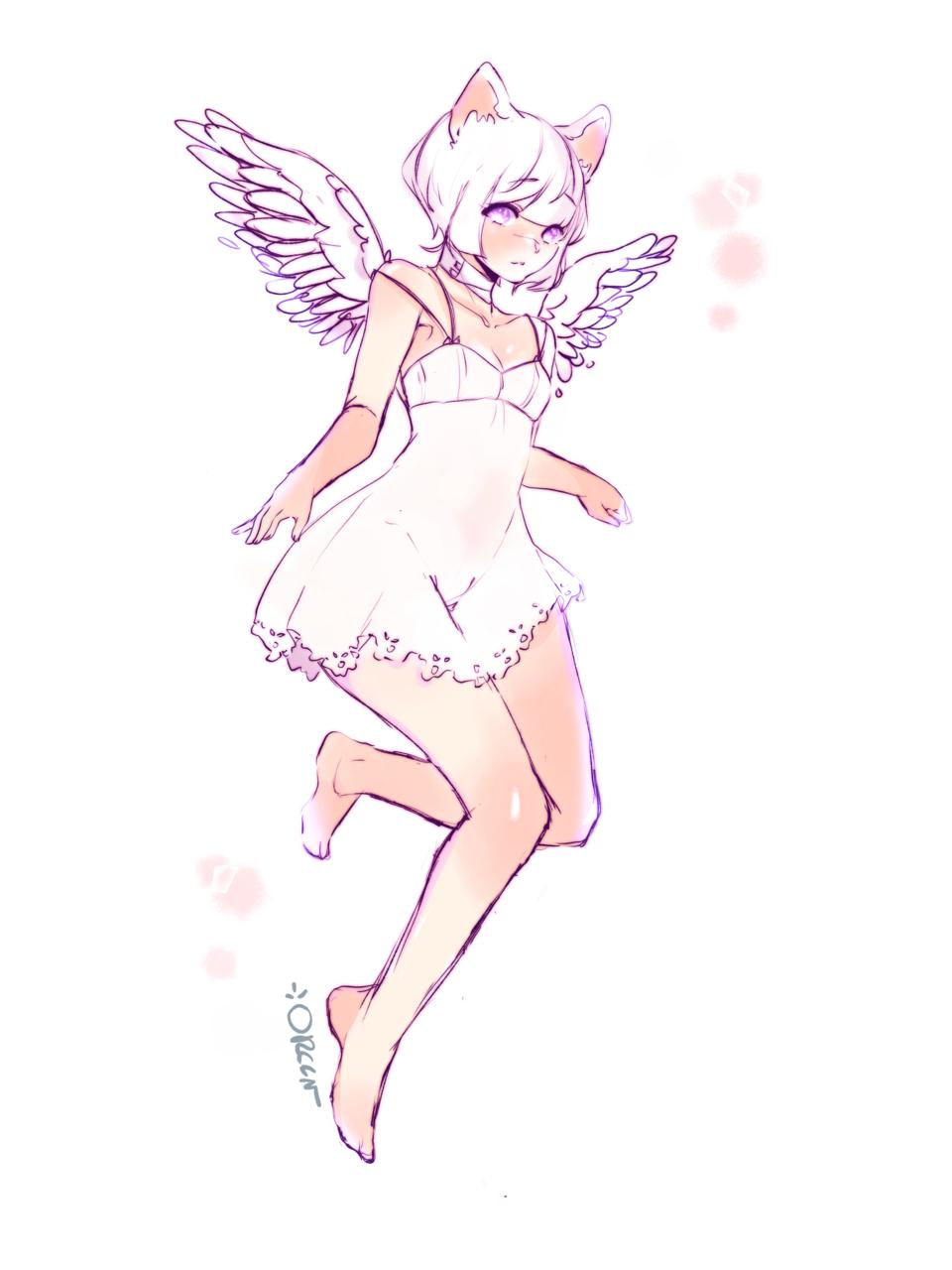 Angel  Illust of Oreen sketch angel miqote medibangpaint drawing ffxiv