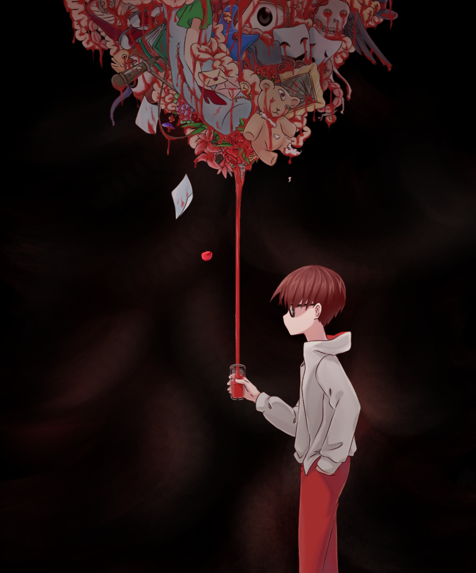 Red Illust of aruji-kun horror August2020_Contest:Horror dark animeart blood