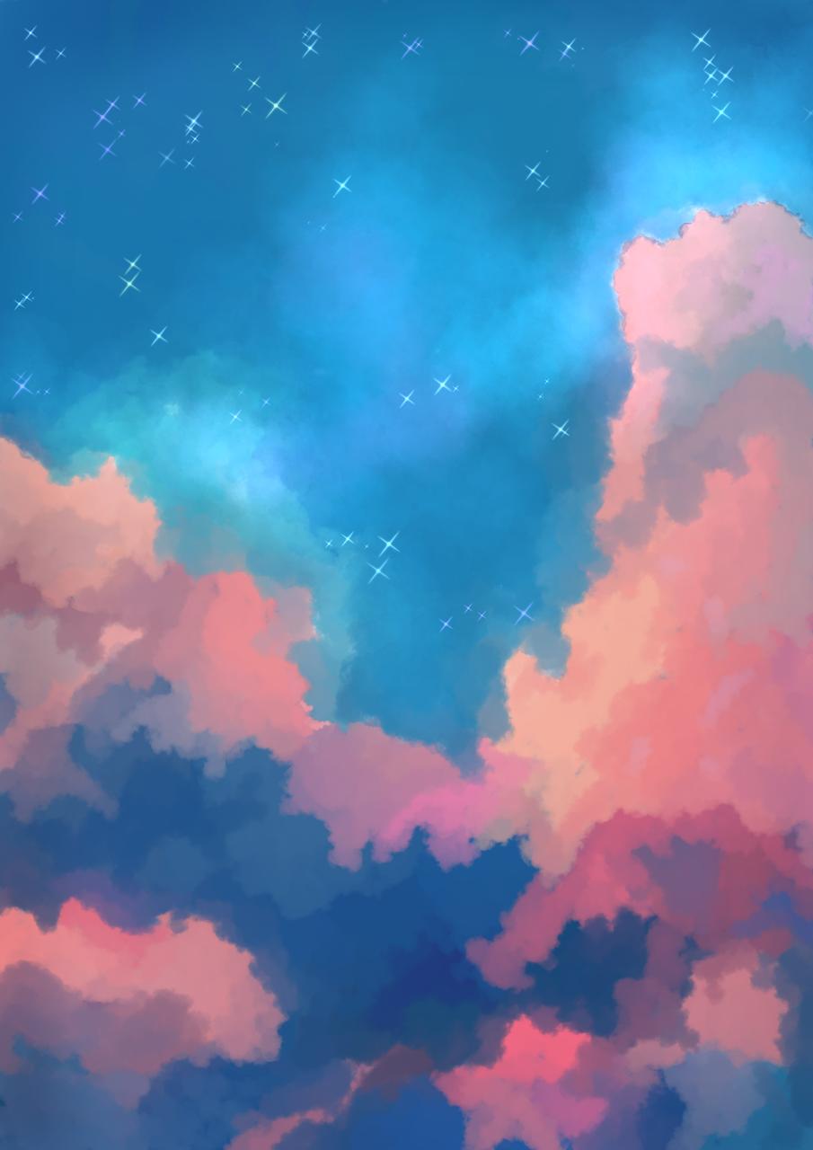 Cloudy Night Sky Illust of CJustMe medibangpaint fluffy blue sunset galaxy night iPad_raffle anime cloud pretty pastel