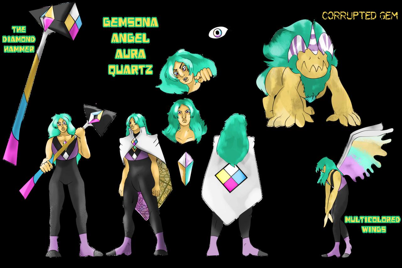 gemsona angel aura quartz remake faridcreator illustrations