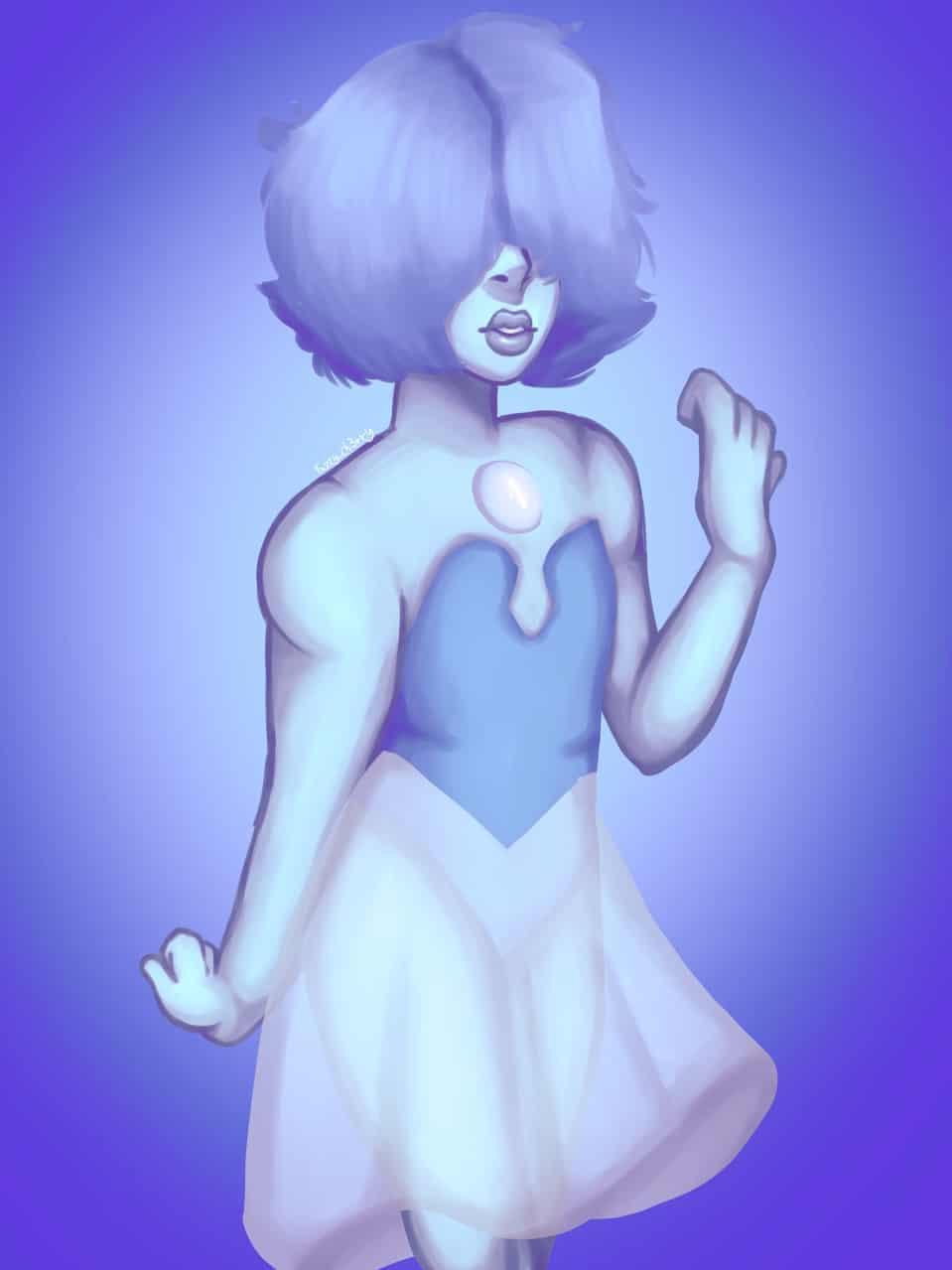Blue pearl Illust of ♣︎Ch3rry_Pi3♣︎|Edd medibangpaint blue Fuzzy_ch3rry lips StevenUniverse cute asthetic Pearl