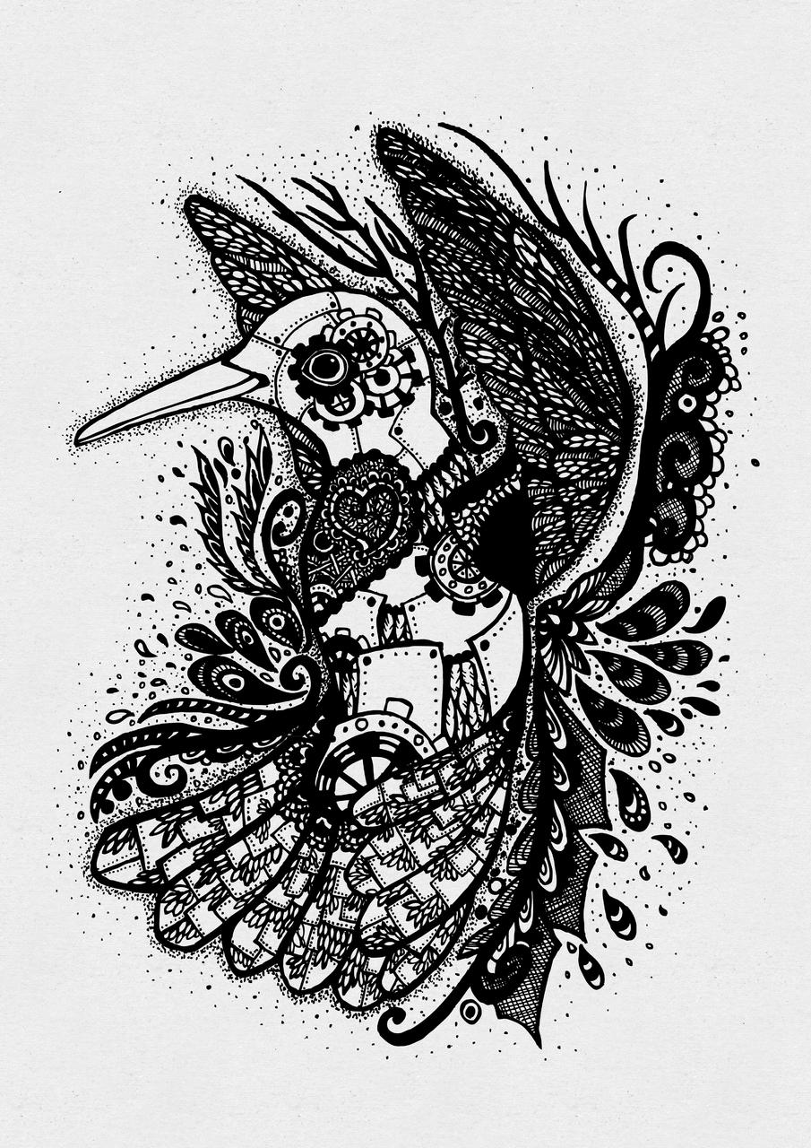 Steampunk Hummingbird Illust of Zarya steampunk cogs birds swirls gears line art humming decorative petals