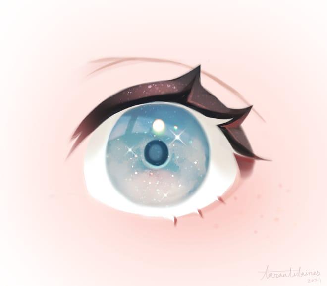 EYES Illust of Tarantulaines 目の描き方 practice 眼睛画法 黑肉 eyes iChallenge 雀斑