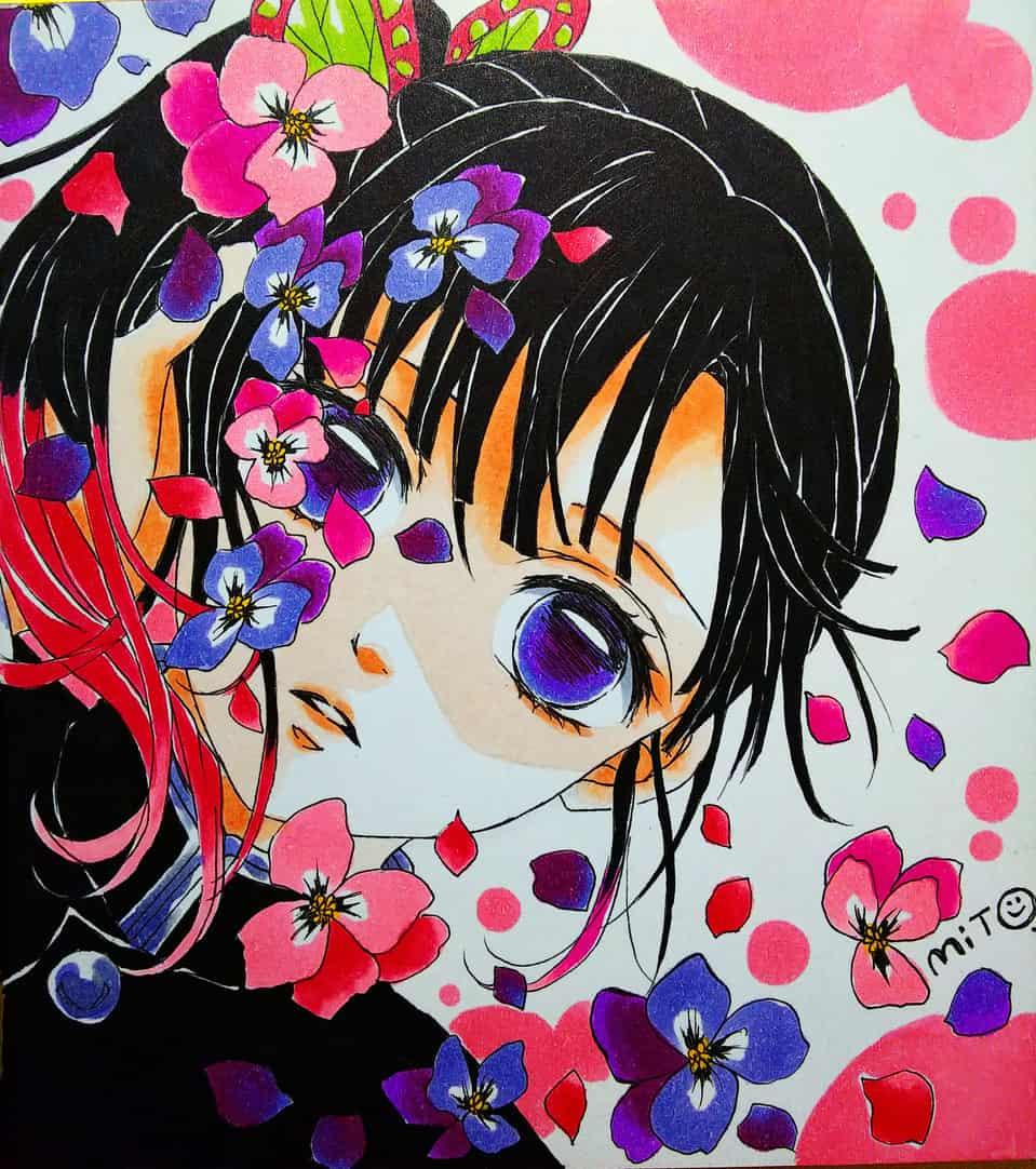 華。 Illust of ミト DemonSlayerFanartContest TsuyuriKanao KimetsunoYaiba コピックイラスト
