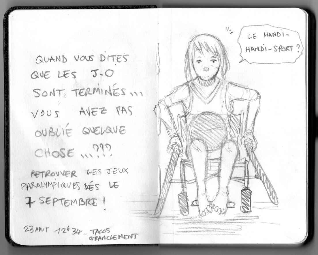 JO Paralympiques Illust of Hard-Jaw chair girl handisport sport paralympique