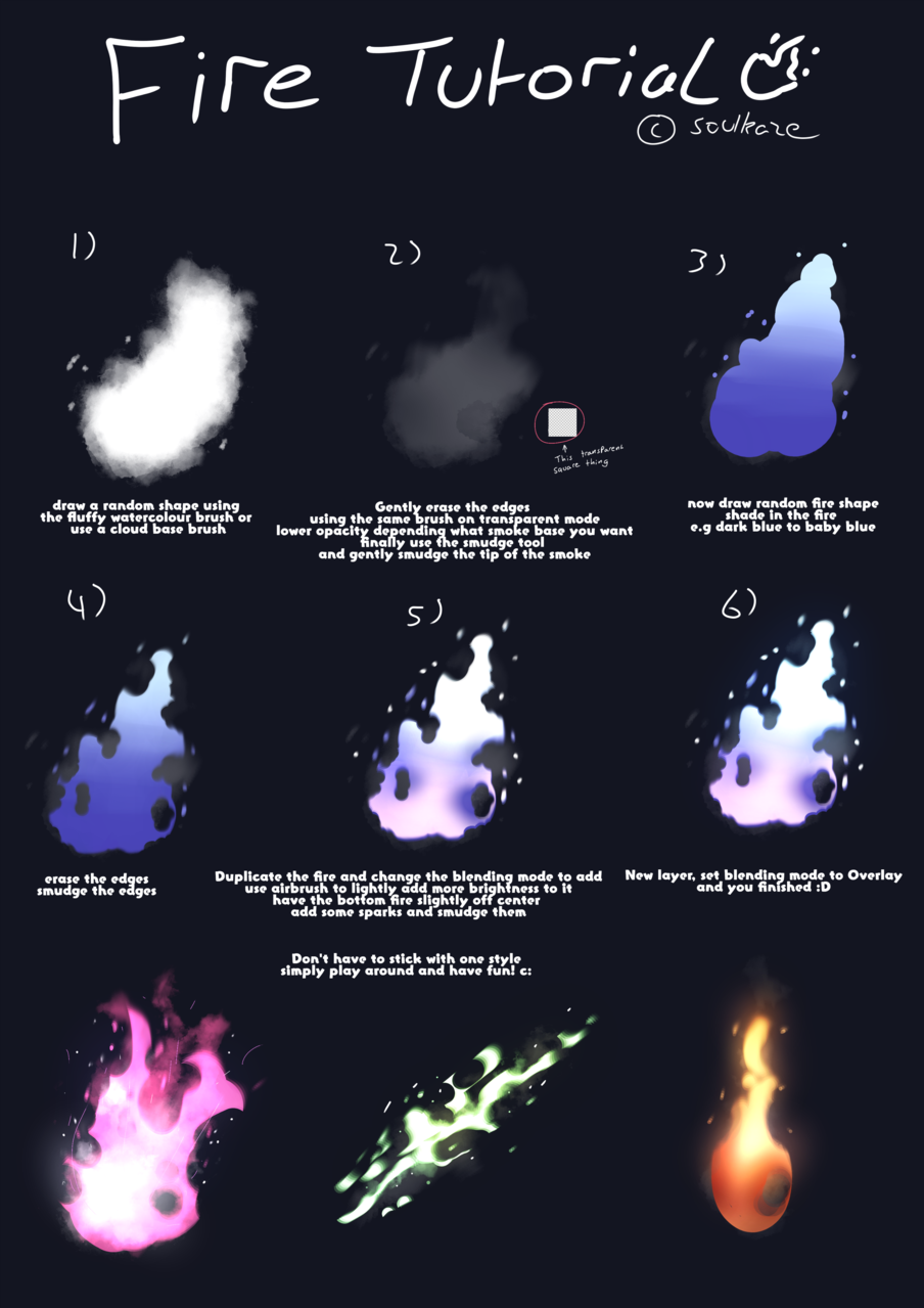 Drawing Fire Tutorial Illust of Kazecoo メイキング illustration fire tutorial art digital