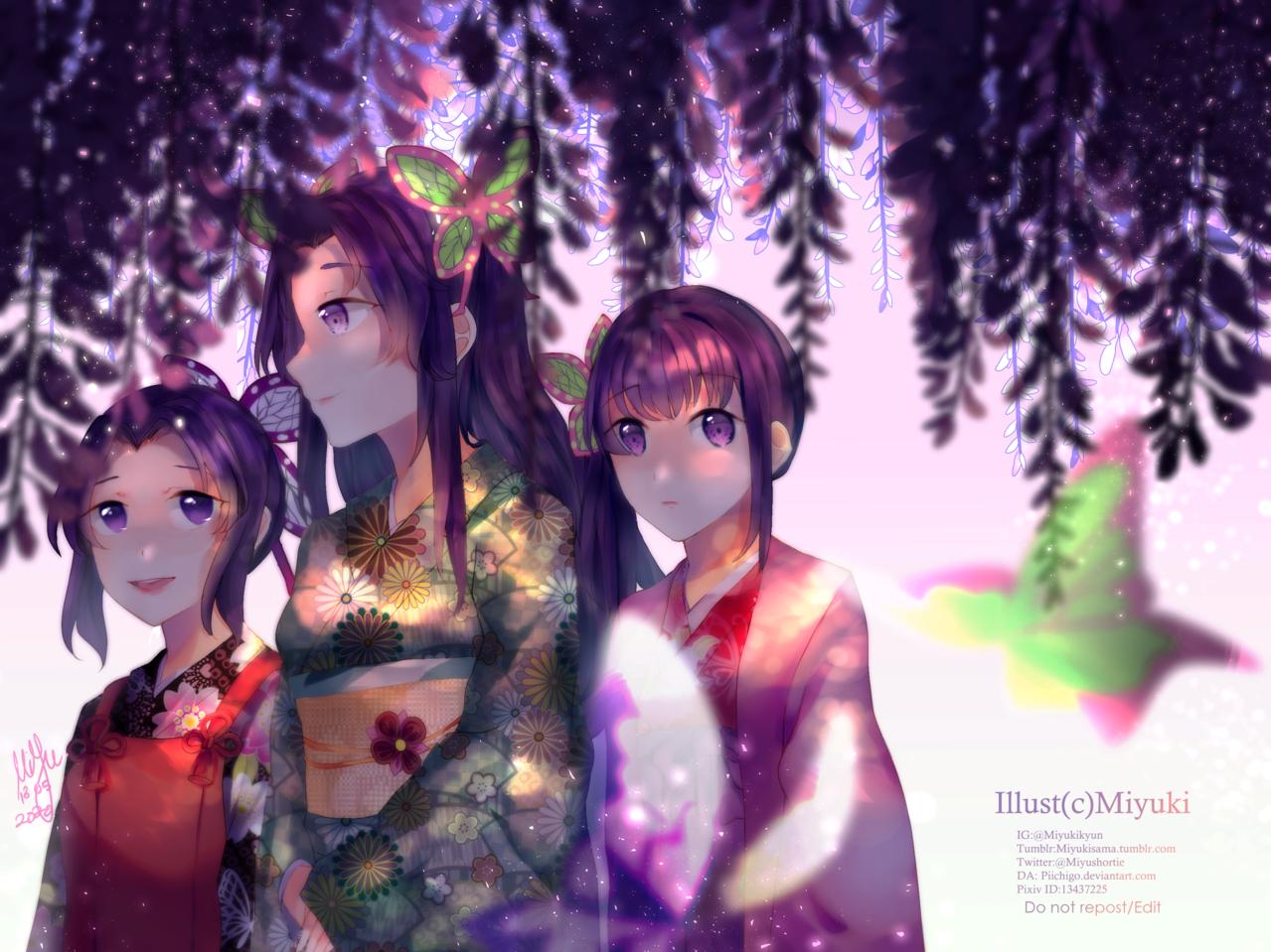 藤花 Illust of Miyuky1910 DemonSlayerFanartContest KochouShinobu TsuyuriKanao KimetsunoYaiba digital kimono flowers fanart