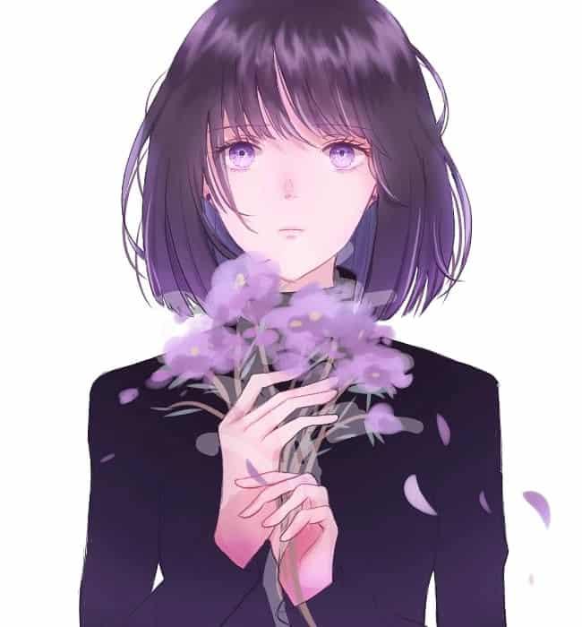 土萠ほたる Illust of 熊谷ユカ black fanfic eyes flower purple セーラーサターン 土萠ほたる PrettyGuardianSailorMoon 美少女