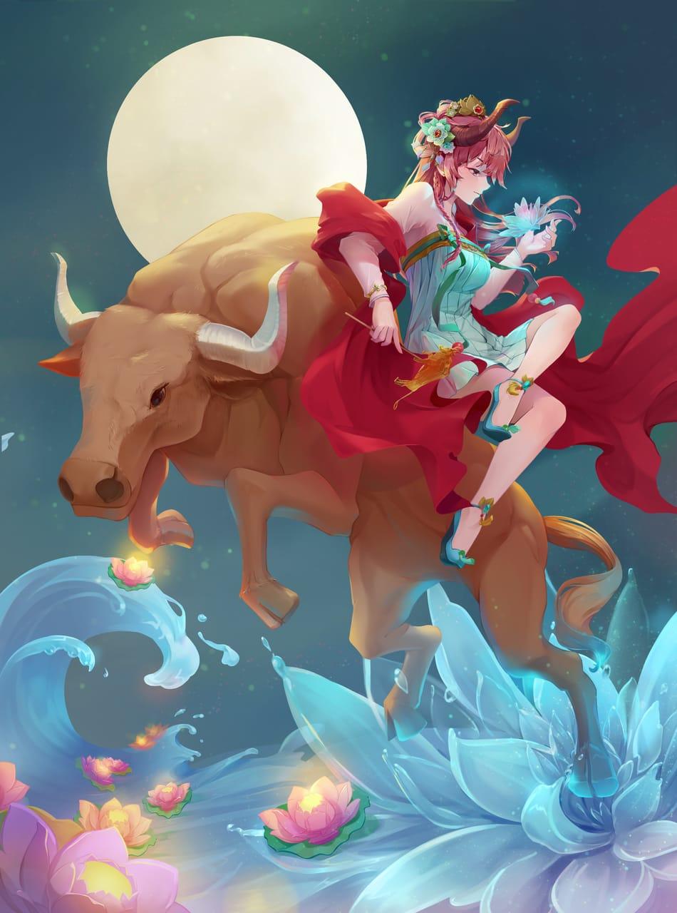 莲。灯 Illust of 杜星羽 fantasy February2021_Fantasy horn flower woman 牛