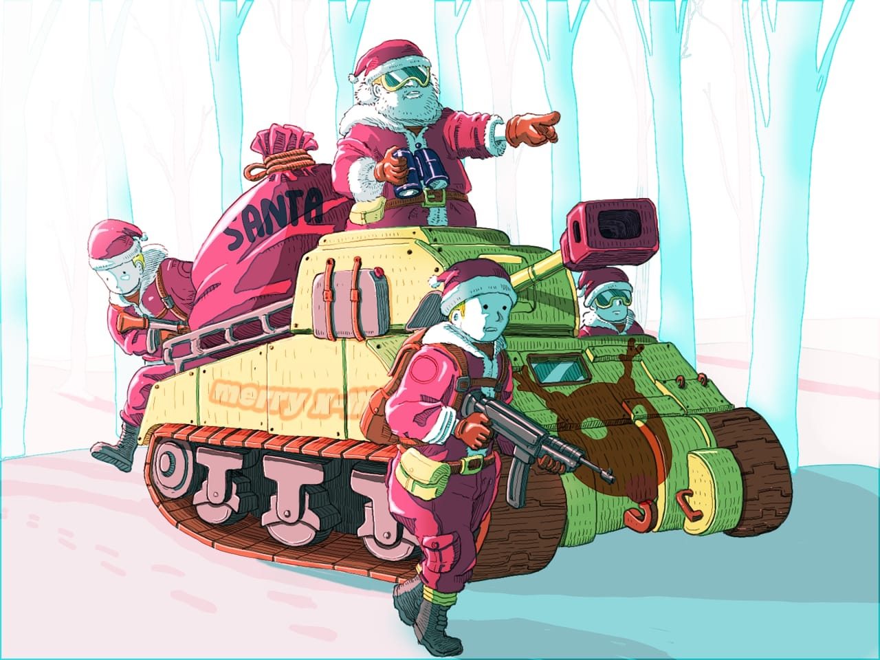 This is how santa did  his job during ww2. Illust of Wutikai December2020_Contest:Santa Christmas snow Mechanic Japanese_style Tank scenery Santa oc WW2 landscapes war