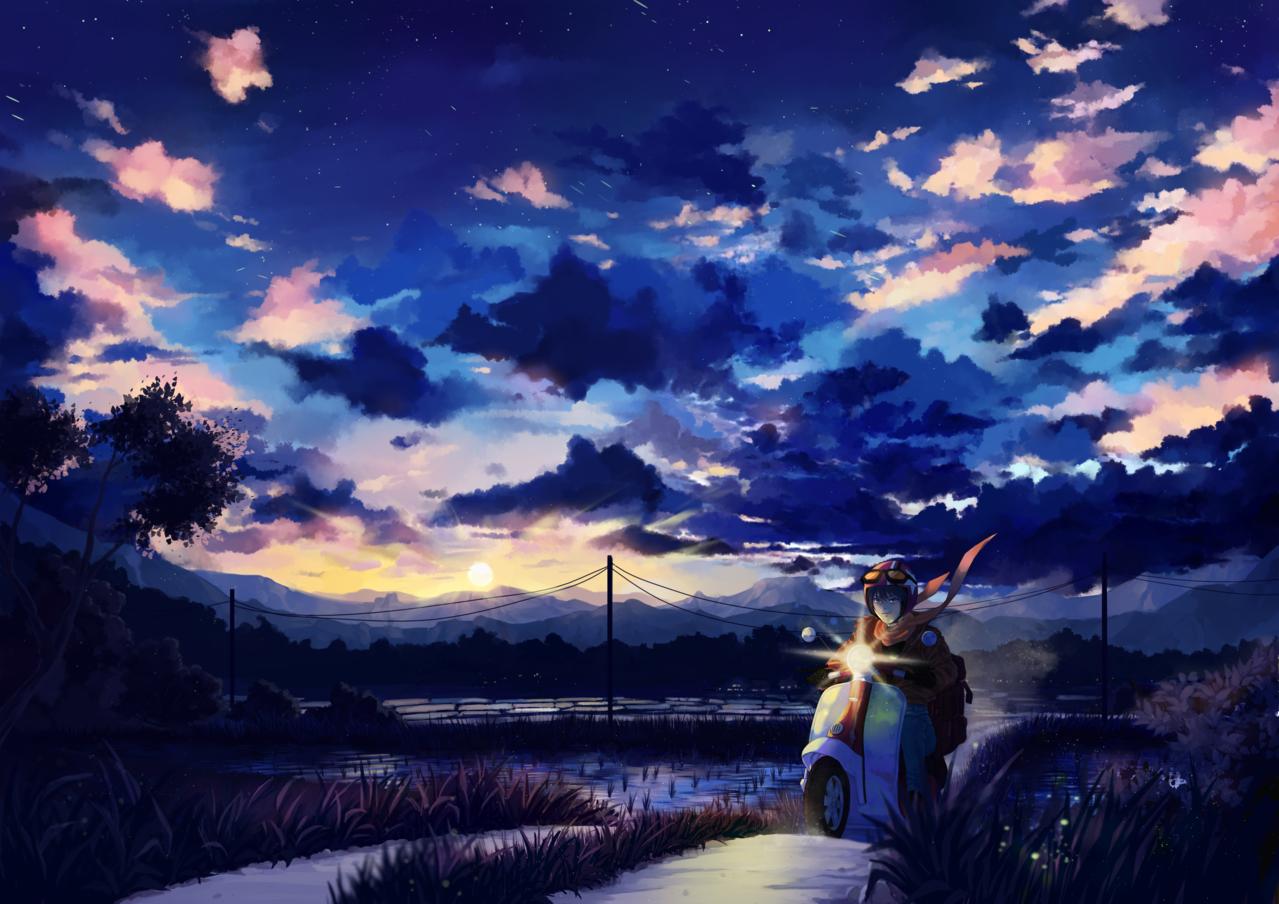 Beginning Illust of Diury 3rdMCPOillustration background painting traveler krita clouds sky journey digitalpainting