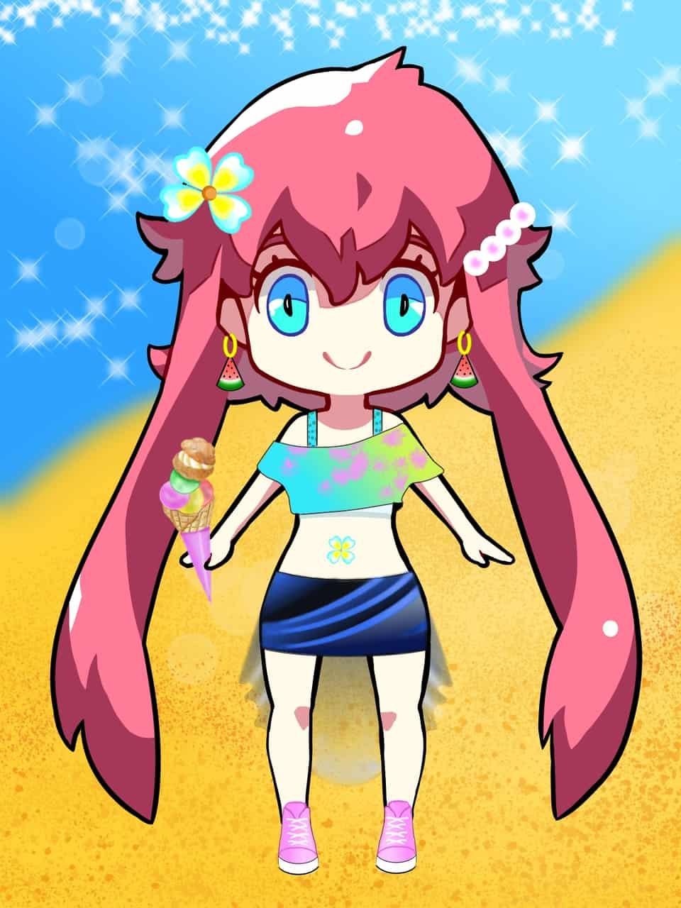 SummerPuff Illust of seyma MEDICHAN2019 medichan summer beach ice-cream creempuff 2019